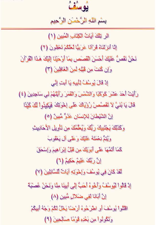 Noble Quran Surah Yusuf, Arabic Colorful Text, Free Download