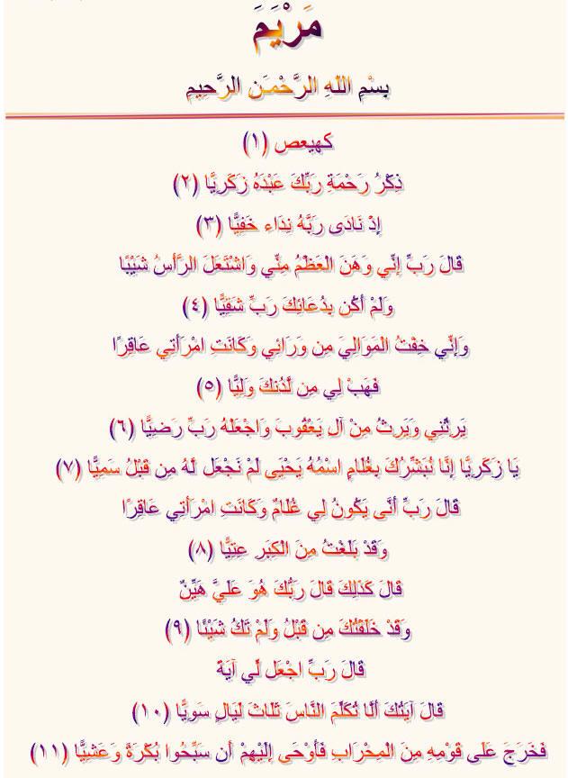 Noble Quran Surah Maryam, Arabic Colorful Text, Free Download